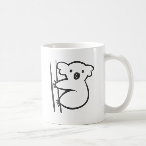Young Koala in a Tree in Black and White Sketch Coffee Mug