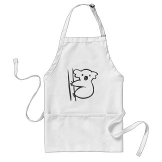 Young Koala in a Tree in Black and White Sketch Standard Apron