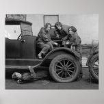 Young Lady Auto Mechanics, 1927. Vintage Photo Poster