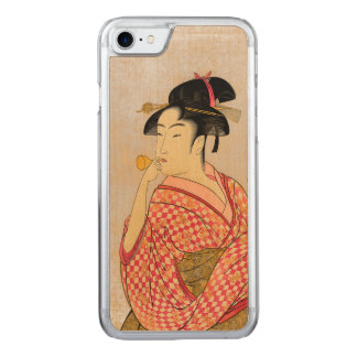 Young Lady Blowing on a Poppin. Carved iPhone 7 Case