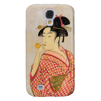 Young Lady Blowing on a Poppin. Galaxy S4 Case