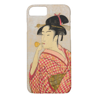Young Lady Blowing on a Poppin. iPhone 7 Case