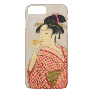Young Lady Blowing on a Poppin. iPhone 7 Plus Case