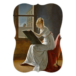 Young Lady Drawing 5x7 Paper Invitation Card