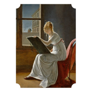 Young Lady Drawing Card