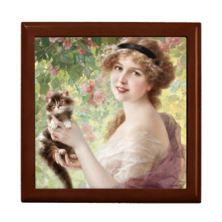 Young Lady With Kitten Gift Box