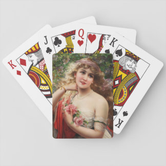 Young Lady With Roses by Emile Vernon Playing Cards