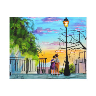 """Young Love"" kids in Paris landscape painting Canvas Print"