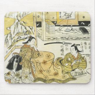 Young Lovers Sitting at A Kotasu, Tirushige, 1720 Mouse Pad