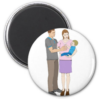 Young loving happy family fridge magnet