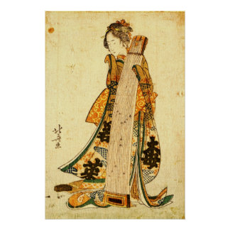 Young Maiden with Koto 1800 Poster