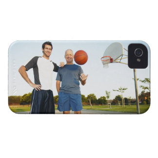 Young man and senior man on outdoor basketball iPhone 4 cover