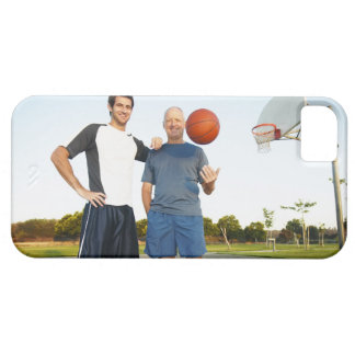 Young man and senior man on outdoor basketball iPhone 5 cover