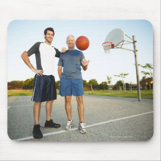 Young man and senior man on outdoor basketball mouse pad