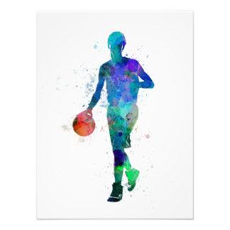 Young man basketball to player dribbling art photo