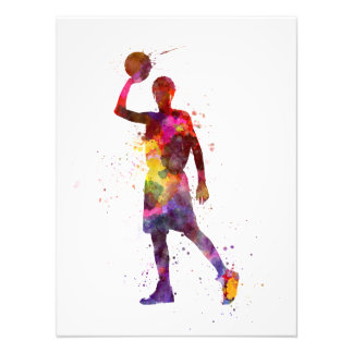 Young man basketball to player photo print