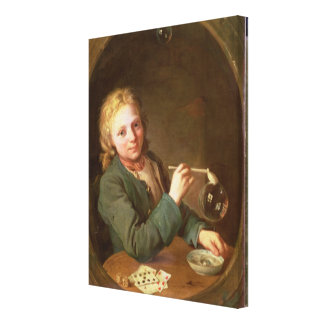 Young Man Blowing Bubbles from a Clay Pipe, 1766 Canvas Print