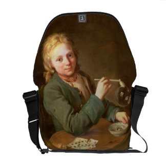Young Man Blowing Bubbles from a Clay Pipe, 1766 Commuter Bags