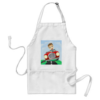 Young man driving fast classic car apron