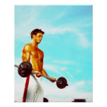 Young man exercising with barbells posters