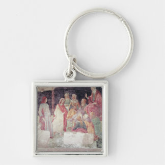 Young Man Greeted by Seven Liberal Arts Silver-Colored Square Key Ring
