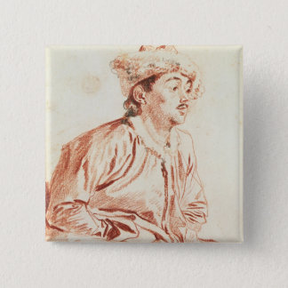 Young Man in Oriental Costume (drawing) 15 Cm Square Badge