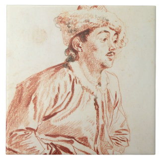 Young Man in Oriental Costume (drawing) Large Square Tile