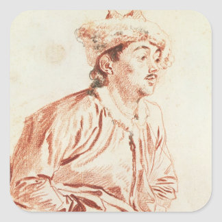 Young Man in Oriental Costume (drawing) Square Sticker