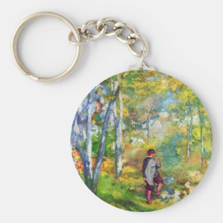Young man in the forest of Fontainebleau by Renoir Key Ring