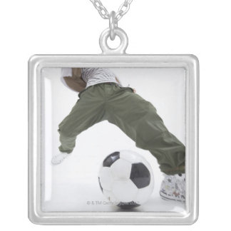 Young man playing soccer 2 silver plated necklace