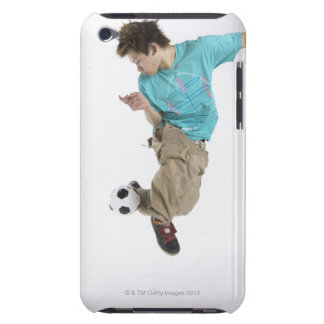 Young man playing soccer barely there iPod case