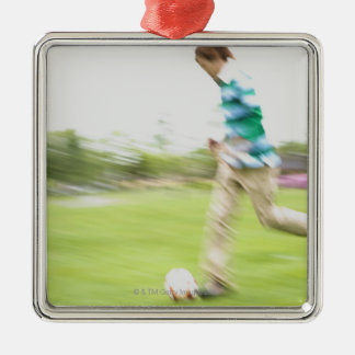 Young Man Playing Soccer Silver-Colored Square Decoration