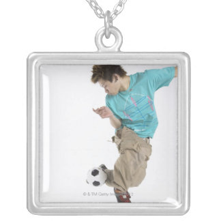 Young man playing soccer silver plated necklace