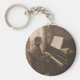 Young Man Playing The Piano by Gustave Caillebotte Basic Round Button Keychain