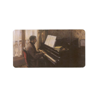 Young Man Playing The Piano by Gustave Caillebotte Address Label