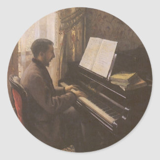 Young Man Playing the Piano by Gustave Caillebotte Round Sticker