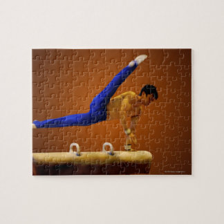 Young man practicing gymnastics on the pommel puzzles