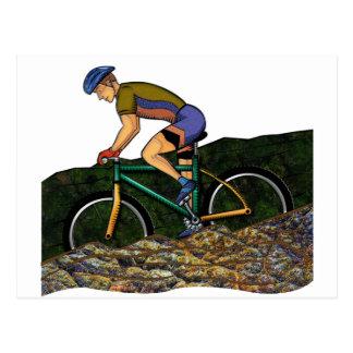 Young Man Riding Bike Postcard
