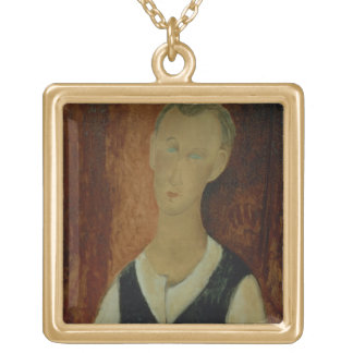 Young Man with a Black Waistcoat, 1912 (oil on can Gold Plated Necklace