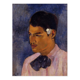 'Young Man With a Flower' - Paul Gauguin Postcard