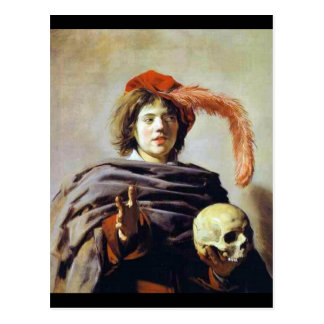 Young Man with a Skull Postcard