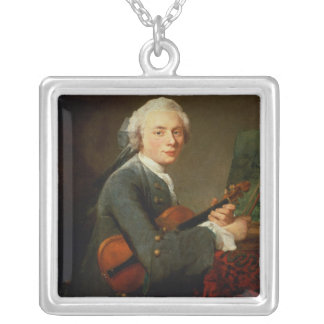 Young Man with a Violin Silver Plated Necklace