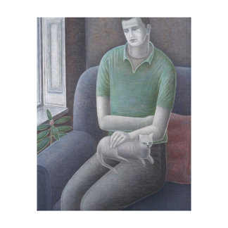 Young Man with Cat 2008 Canvas Print