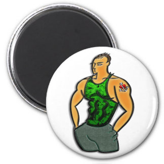 Young Man with Heart and Anchor Tattoo Print 6 Cm Round Magnet