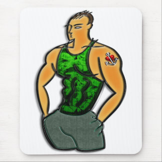 Young Man with Heart and Anchor Tattoo Print Mouse Pad