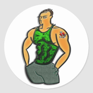Young Man with Heart and Anchor Tattoo Print Round Sticker