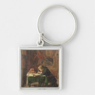 Young Man Writing, 1852 Silver-Colored Square Key Ring
