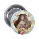 Young Marie Antoinette n Pink Roses Button Pin