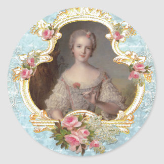 Young Marie Antoinette n Pink Roses Stickers