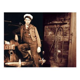 Young Mechanic Vintage Photo Postcard